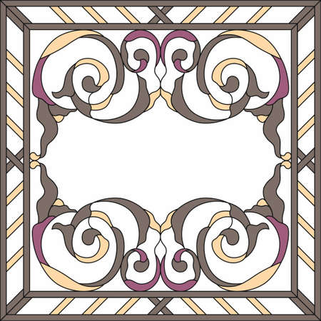 Ceiling panels stained glass window. Abstract Flower, swirls and leaves in square frame, geometric ornament, symmetric composition, stained glass tiffany technique, classic style. Vector