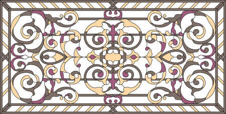 Stained glass window in a rectangular frame. Flower arrangements and ornaments in vector graphics, with abstract swirls and leaves, horizontal orientation / colorful floral symmetric composition.