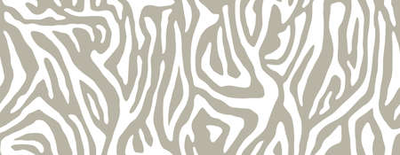 White zebra stripes seamless pattern. Animal skin for print textile design. Line background, fashion fabric art. Abstract curved lines ornament. Vector texture 일러스트