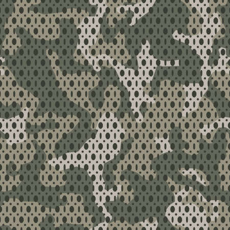 Vector camouflage seamless mesh pattern. Khaki camo design for t-shirt. Military background with holes. Army clothing, Woven fabric effect texture. 일러스트