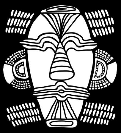 Ethnic tribal mask. traditional ritual mask native shamans of ancient tribes and religions Voodoo Africa, America and Australia. Black and white hand drawn vector illustration. 일러스트