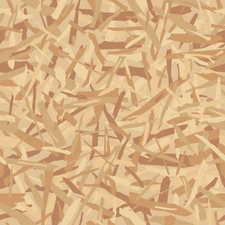 Oriented particle board (OSB wood texture). Lumber pattern. Sheet of plywood with fragments of compressed sawdust. Glued sliver vector seamless background. 일러스트