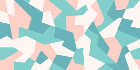 Abstract camouflage background in pastel colors. Camo pattern of geometric shapes for urban clothing. Green, white and light red colors. Stock vector 일러스트