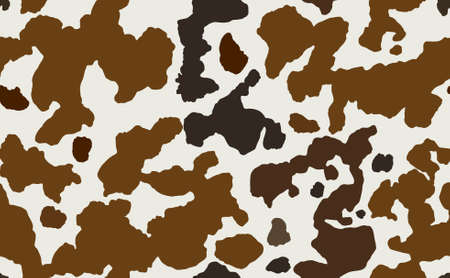 Cow skin in brown and white spotted, seamless pattern, animal texture. Raster copy illustration 스톡 콘텐츠
