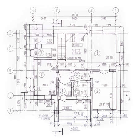 Architectural plan of the cottage. Building facade, front view, detailed working drawing. Architectural background, the sectional drawing, performed by hand, pencil. 스톡 콘텐츠