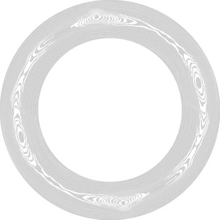 Round white wood frame. Tree circular grain texture. Dense lines pattern. Border for the mirror. Vector background