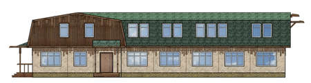A small building with a mansard roof of wood. Detail house facade of the wooden building. The architectural drawing of building front view on a white background. illustration