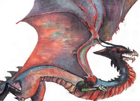 Flying dragon, watercolor