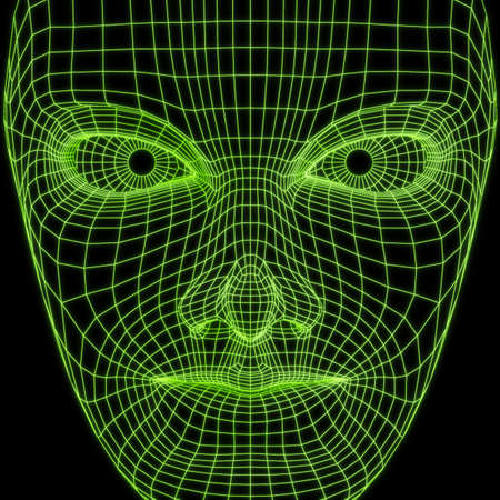 Virtual reality concept. Artificial intelligence. The human face of wireframe, front view. Future science with modern technology. 3D render illustration. 스톡 콘텐츠