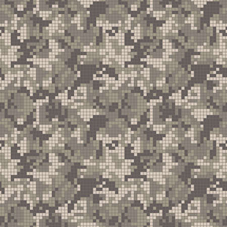Digital military camouflage. Seamless camo pattern. Halftone pixel mosaic background. Sand brown masking colors. Abstract texture for print on fabric, textile or paper. Vector