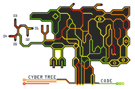 Digital technological tree in the form of a printed circuit board. Infographic design. Colorful futuristic background, vector scheme. 일러스트
