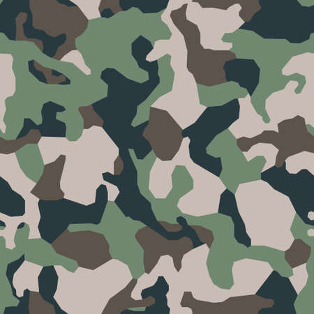 Green classical camouflage pattern background. Army khaki clothing style. Forest masking military camo. Vector seamless texture. Ilustração