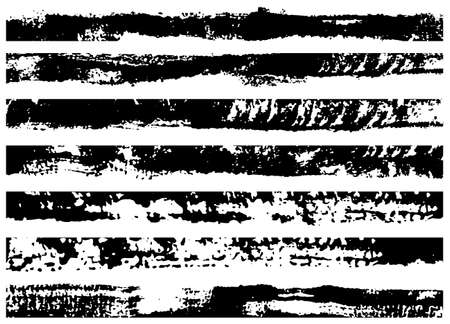 Set of grunge brush strokes. Paint edges, ink borders. Black paintbrush, Hand drawn edges pattern background. Vector