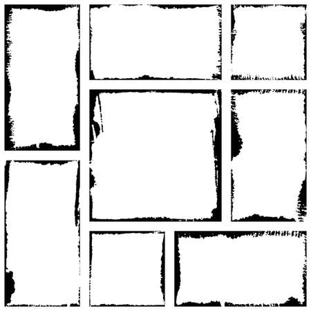 Vector Frames. Squares and rectangle for fill image. Distress texture with dirt effect. Grunge Black borders isolated on white background. Vector Ilustração