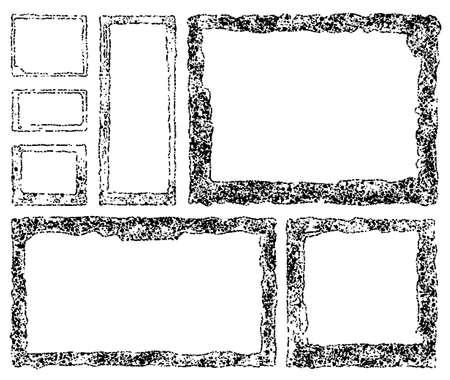 Set of grunge square frames. Empty border background. Hand draws black and white ink. Distress damaged edge vintage template. Brush stroke vector. Ilustrace