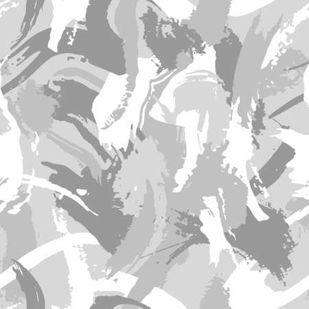 Winter white camouflage, modern fashion design. Army uniform. Camo military grunge dry brush pattern. Monochrome, fashionable, fabric. Vector seamless stroke texture. Ilustração