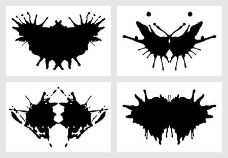 Ink blot for psychiatric evaluations. Rorschach test. Vector set of grunge abstract black spots Ilustração