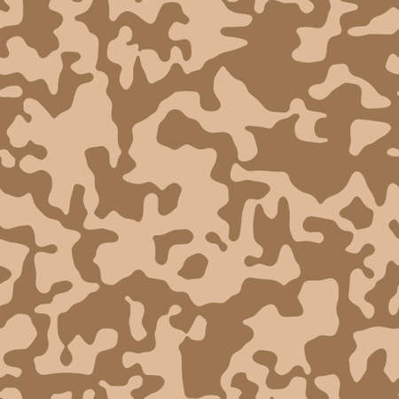 Camouflage brown military fabric texture. Camo seamless background. Abstract pattern for army, fashion cloth textile. Modern soldier style. Vector.