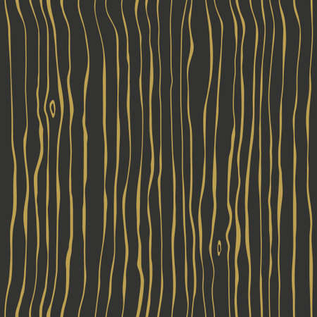 Black tree with golden fibers. Dark brown wenge wooden wall plank, table or floor surface. Wood grain seamless texture, vector background. Ilustração