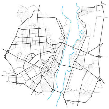Voronezh city map - town streets on the plan. Map of the scheme of road. Urban environment, architectural background. Vector Ilustração