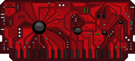 The computing module circuit Board. Red graphics video card. Printed computer motherboard with microcircuit. Electronic background Ilustração