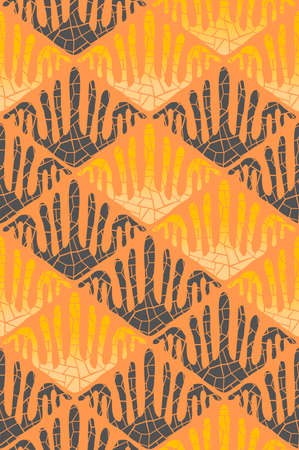 Rhombus shape pattern. Orange background with ceramic crack, tile print. Seamless texture. Ornament for filling. Vector wallpaper
