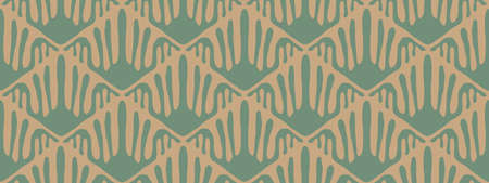 Seamless wallpaper. Ornamental repeating pattern. Tile brown and green print texture. Vector background Ilustração