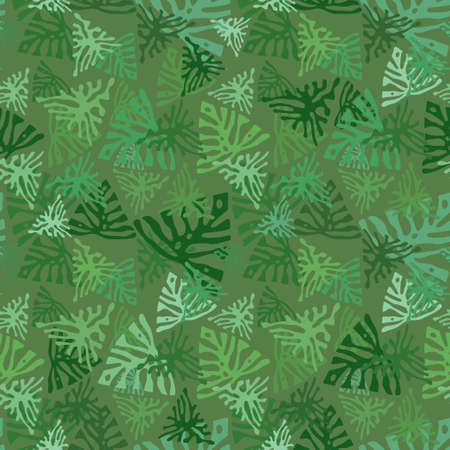 Monstera camouflage seamless tropical pattern. Leaves camo with tropical plants. Exotic background, fashion jungle print for design. Vector wallpaper Reklamní fotografie - 164399985