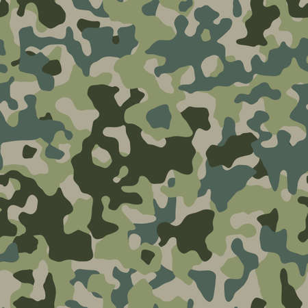 Camouflage green forest pattern, seamless background. Military camo print texture. Vector wallpaper Ilustração
