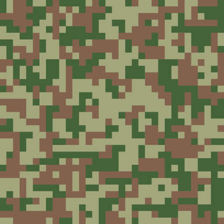 Digital camouflage seamless pattern. Green color camo, background in military style.