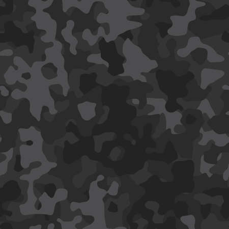 Black military background of soldier camouflaging, seamless pattern. Modern vector camo texture for army clothing. Ilustração