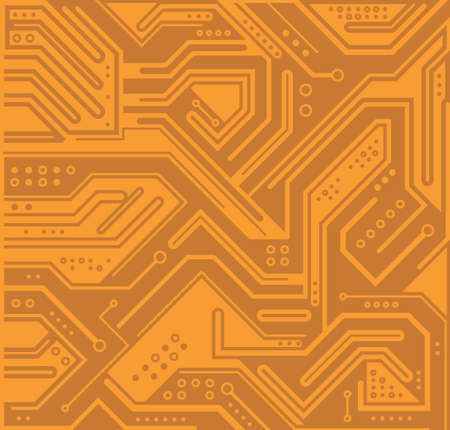 Circuit board, technology orange background. Digital electronic texture, high tech pattern. Vector wallpaper Ilustração