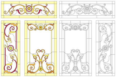 Stained glass window in baroque style for ceiling or door panels. Tiffany technique. Abstract glass panels, floral pattern in a rectangular frame. Detailed vector set.