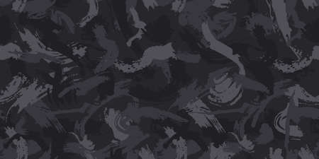 Urban camouflage, modern fashion design. Camo military protective. Army uniform. Grunge pattern. Black monochrome, fashionable, fabric. Vector seamless texture. Reklamní fotografie - 164399999