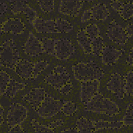Digital military camouflage. Seamless camo pattern. Halftone dots background. Skin of a chameleon or snake. Dark khaki green color. Abstract texture for print on fabric, textile or paper. Vector