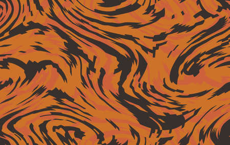 Tiger seamless camo pattern. Brown orange coloring camouflage, modern fabric print. Abstract repeating wallpapers. Vector texture
