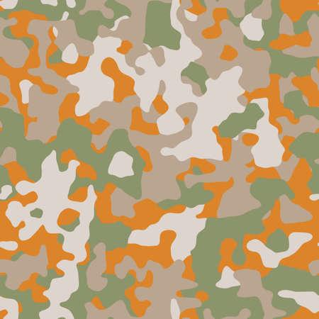 Camouflage. Modern urban camo print for fabric. Green brown and orange autumn camo pattern, abstract geometric background. Seamless mosaic texture. Vector wallpaper Ilustração