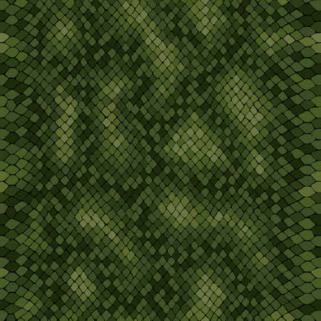 Python skin seamless vector texture. Green tone colors snake pattern ornament for textile fabric. Artificial reptile python leather pattern.Vector background