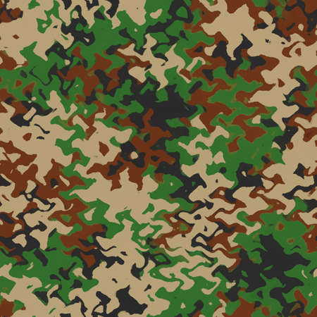 Camouflage wave pattern background. Classic clothing style masking camo repeat print. Green brown black olive colors, ripple effect texture. Digital illustration Imagens