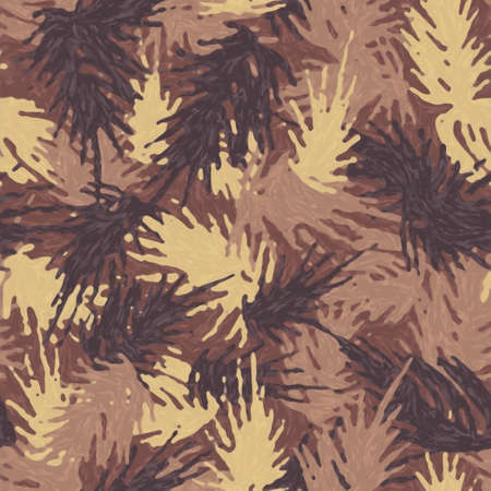 Color marker pen camouflage needles plants, seamless pattern. Grunge branches and herbs, brown camo background. Crayon hand draws texture wallpaper. Fabric design. Imagens