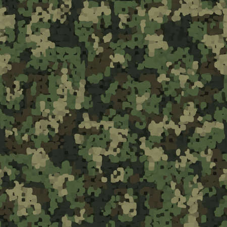 Camouflage pattern background seamless illustration. Classic clothing style masking camo repeat print. Green brown black olive colors forest texture. Imagens
