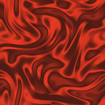 Red seamless background with wavy draped fabric pleats, smooth silk texture with wrinkles and creases in the flowing fabric. Digital illustration
