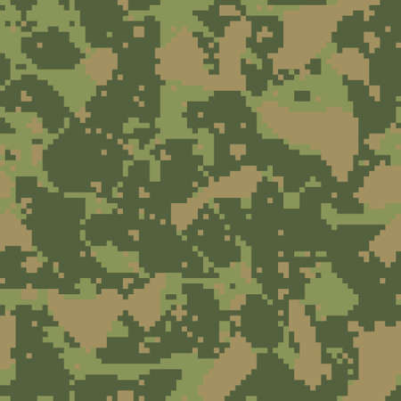 Digital camo background. Seamless camouflage pattern. Military texture. Dark green khaki, brown forest color. Vector fabric textile print designs.