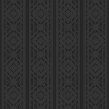 Black monochrome wallpaper in the Art Deco style. Backdrop texture, vertical striped ornament. Seamless vector rhombus pattern