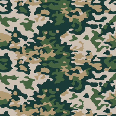 Green camouflage seamless pattern. Vector camo military background. Fabric textile print template. 矢量图像