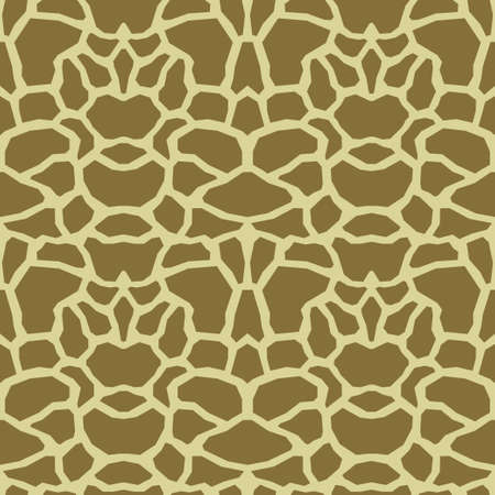 Giraffe skin texture, seamless pattern, repeating brown and yellow spots, background. Modern ornament of stylized skin. Vector illustration 矢量图像