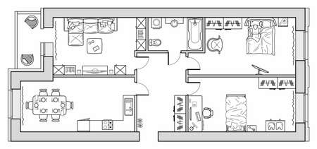 Planning of the apartment with arrangement furniture. Architectural drawing of the house (top view). Interior design floor plan from above. Vector layout 矢量图像