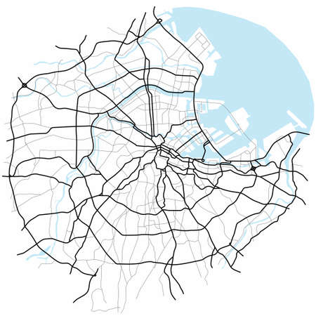 Tokyo city map (Japan) - town streets on the plan. Monochrome line map of the scheme of road. Urban environment, architectural background. Vector 矢量图像