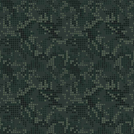 Digital camo pattern with color dark green dots. Halftone seamless background. Pixel art, vector texture.