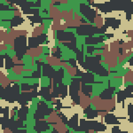 Digital camo. Seamless camouflage pattern. Military modern texture. Green, brown and black forest colors. Vector fabric, textile print